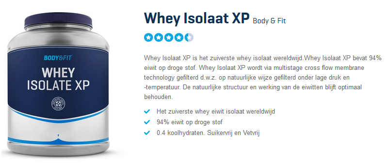 Pot met Whey Isolate XP Body & FIt