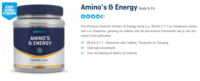 Amino's en Energy Pre Workout (Body en Fit Shop)